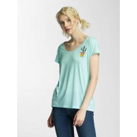 Brave Soul Women T-Shirt Cactus Badge in green Further round neck cutout LTS225SHAKEMIN PTFIIMU