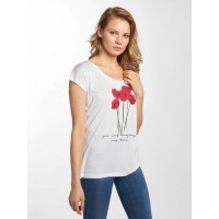 Fresh Made Women T-Shirt Rose in white finely ribbed crew neck D1286O01169RWHT JTOHJUT
