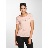 JACQUELINE de YONG Women T-Shirt jdyRainbow in rose pink 65% polyester 35% viscose finely ribbed crew neck 15152429PEA NHETCDL