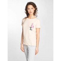 Stitch & Soul Stitch & Soul Women T-Shirt Flamingo in rose pink 48% cotton 48% polyester 4% spandex finely ribbed crew neck D1283Z01837ALPEA BGACOQV