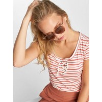 Sublevel Women T-Shirt Stripes in white finely ribbed round neck with decorative lacing D1226Z00318SOFFWHTCORRED KMAXAWG