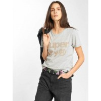 Superdry Women T-Shirt Rhinestone Boxy in grey Round neckline with fine ribbed trim G10125AQRV5 FVXNUUS