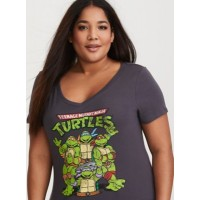 V-neck Short sleeves TMNT screen print graphic Women Teenage Mutant Ninja Turtles Grey Fitted Tee 11271629 UKDREWN