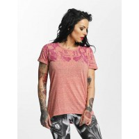 Yakuza Women T-Shirt Skull Script Boyfriend in rose ribbed crew neck GSB11126TEAROS RUEANMV