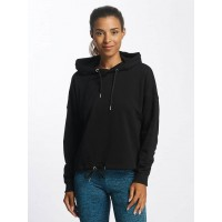Urban Classics Women Hoodie Oversized Gathering in black Crossed hood with drawstring TB1721BLK MVDZUNA