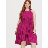 Challis fabric High neck Sleeveless; cutaway shoulders Women Berry Dot Hi-Lo Challis Dress 11342714 MTHOXWG