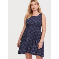 Challis fabric Scoop neck Sleeveless Women Navy Medallion Tie-Back Challis Dress 11274857 SUBFXSR