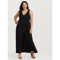 Ponte fabric Deep V-neck Sleeveless Women Special Occasion Black Ponte Maxi Jumpsuit 11203269 WWJJZZS