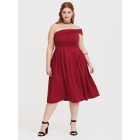 Ponte fabric One-shoulder Concealed side zip with hook-and-eye closure Women Special Occasion Wine Ponte Skater Dress 11293733 SLMEWOX