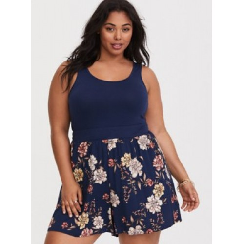 Scoop neck; scoop back Sleeveless Stretch waist Women Blue Floral Challis Romper 11275277 BBZHTZY