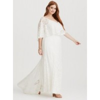 V-neck Sleeveless with lace overlay Train hem Women Runway Collection - White Lace Overlay Gown 11207922 LHAWWAK