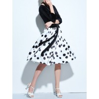 Women A-THENA Bateau/boat neck Midi Dress A-line Party Paneled Polka Dots Dress 1CMI5G53B3 BEKQQAI