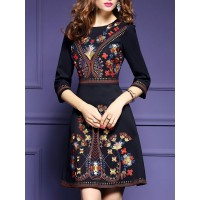 Women A-THENA Black Midi Dress A-line Party 3/4 Sleeve Floral Dress 1DTRAHB375 KQVRLUD