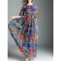 Women A-THENA Maxi Dress A-line Party Half Sleeve Printed Dress 1XMA643697 QEABZQN