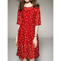 Women A-THENA Midi Dress Shift Beach Printed Polka Dots Dress 1BMI7HE0EF POMWXBA