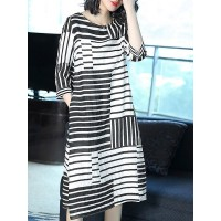 Women A-THENA Midi Dress Shift Daytime 3/4 Sleeve Striped Dress 1NMI52EC7D CRHNDGC