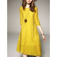 Women A-THENA Yellow Midi Dress Shift Casual Solid Dress 1AMI7H50A4 QCUGNIB