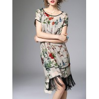 Women Eau du Sud Multicolor Midi Dress Shift Daily Short Sleeve Floral Dress 12MI394147 MXYMSKT