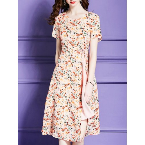 Women Eau du Sud Orange Midi Dress A-line Daily Short Sleeve Floral Dress 10MI7B10A1 LFBJZHR