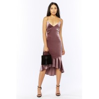 Women Everybody's Talking Midi Dress Velvet midi dress featuring a a plunging neckline and a high/low mermaid skirt.  Spaghetti straps MZJEHHM