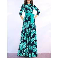 Women Fantasyou Dark blue Maxi Dress A-line Party 3/4 Sleeve Bow Dress 1GMI586D82 JXNLVWK