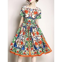 Women Fantasyou Multicolor Midi Dress A-line Beach Holiday Printed Dress 19MI4O3D43 EBGFTMF