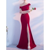 Women Fantasyou Off Shoulder Maxi Dress Sheath Going out Vintage Solid Dress 12MA2AC580 HYLRESX