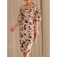 Women Fantasyou Off Shoulder Midi Dress Sheath Going out Vintage Floral Dress 1KMI100514 XBEQTJU