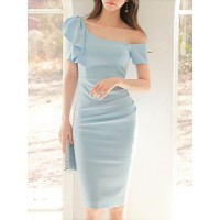 Women Fantasyou One Shoulder Blue Midi Dress Party Short Sleeve Solid Dress 1EMI2RECC6 ALTFVOE