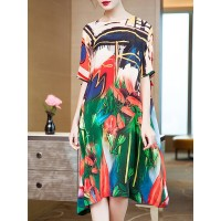 Women Fantasyou Red Midi Dress Daily Half Sleeve Abstract Dress 1NMI7D4278 TPFODKR