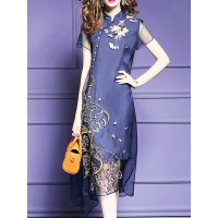 Women Fantasyou Stand Collar Midi Dress Asymmetrical Embroidered Dress 15MI6862E4 QFKHDNX