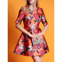 Women Hoyugo Orange Floral Shorts Sleeve Mini Dress 1SVE910508 FRZMKPK