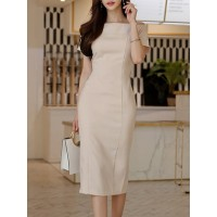 Women Misslook Bateau/boat neck Apricot Midi Dress Sheath Date Short Sleeve Solid Dress 1HMI4O2CB6 AQHKUDI