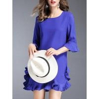Women Misslook Mini Dress Flounce Daily Ruffled Solid Dress MI4S3777 LRXYSKW