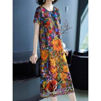 Women Misslook Multicolor Midi Dress Shift Beach Casual Printed Dress 17MI7A707D YRBGCVX