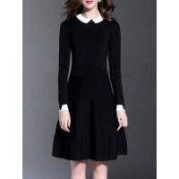 Women Misslook Peter Pan Collar Black Midi Dress Daytime Long Sleeve Paneled Dress 13WO9QA8E2 YOXFKVC