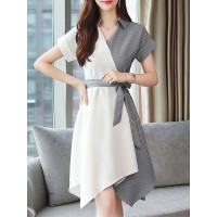 Women Misslook Shirt Collar Midi Dress Asymmetrical Work Striped Dress 1KMI6CFD4E SYZXCKW
