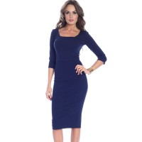 Women Misslook Square neck Navy Blue Midi Dress Work Half Sleeve Zipper Dress MI9182D5 QVCGSLO