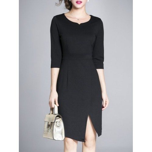 Women Misslook V neck Black Midi Dress Sheath Daytime 3/4 Sleeve Solid Dress MI7O109B DOYGUMS