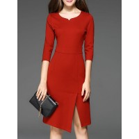 Women Misslook V neck Midi Dress Sheath Work Elegant Slit Dress MA65CFE0 OFIKZUR