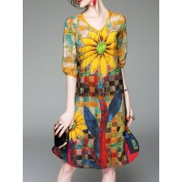Women Misslook V neck Yellow Midi Dress A-line Daytime Half Sleeve Floral Dress 1GWO911143 PUHLCFA