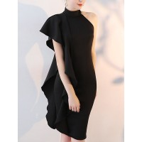 Women Sicily Halter Black Midi Dress Bodycon Single Sleeve Solid Dress 1GMICT41B0 FKRNJWF