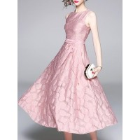 Women Sicily Pink Midi Dress A-line Party Sleeveless Jacquard Dress 11MI5O8328 XGNLASM