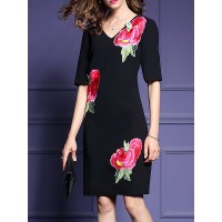 Women Sicily V neck Black Midi Dress Sheath Short Sleeve Work Dress 1QMI4Q96CD MFUHIEO