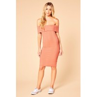 Women Someday Sunday Dress Ribbed knit off-the-shoulder dress featuring a fold over top. Off-the-shoulder sleeves ZRJBZEJ