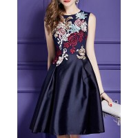 Women Tiana Embroidered Midi Dress A-line Sleeveless Elegant Dress 1FMI685F17 HAYYUBU