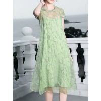 Women Tiana Silk Embroidered Midi Dress Date Casual Dress 1XMI6B96A8 YEWRCJC