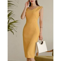 Women Tiana Yellow Midi Dress Bodycon Daytime Work Solid Dress 1GMI7635B1 LSGVVXS