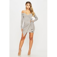 Women You Better Dress Off the shoulder mini dress featuring a side tie. V neck HTYLWPM