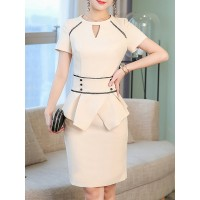 Women YZL Studio Keyhole Midi Dress Sheath Work Short Sleeve Solid Dress 1NTW4KF43B CUXRJLR